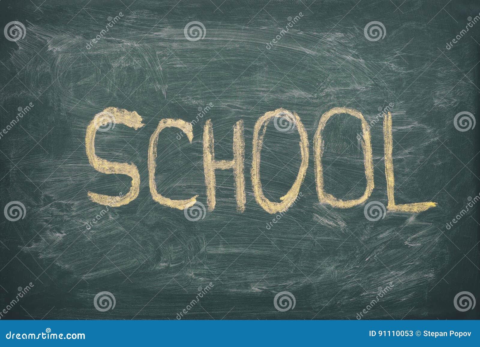 Word School On Green Chalkboard Background