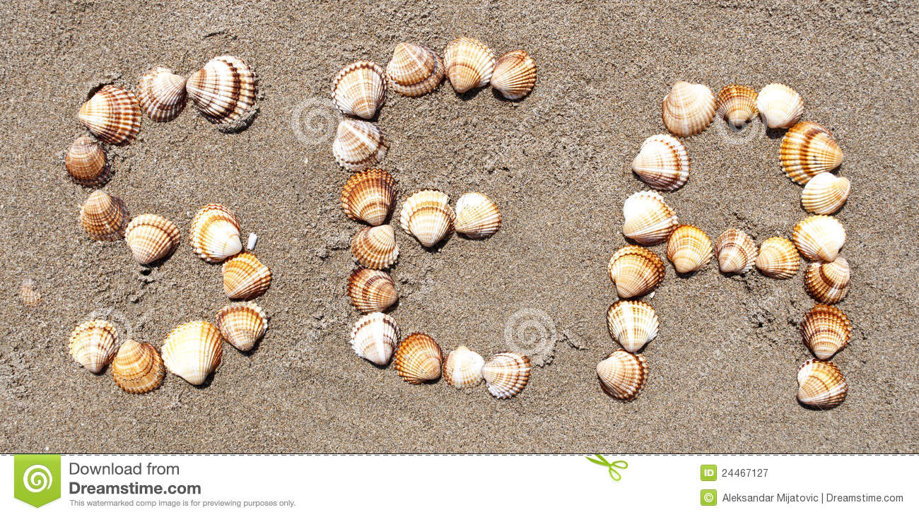 Word sea made with small sea shells royalty free stock for What are shells made of