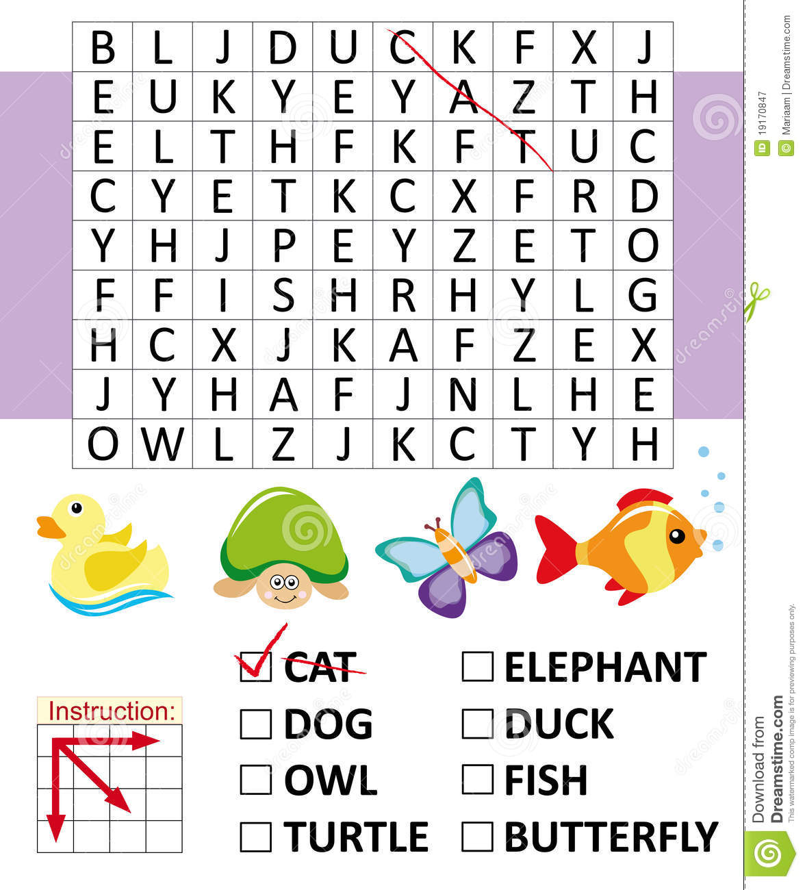 Word Search Game With Animals Royalty Free Stock
