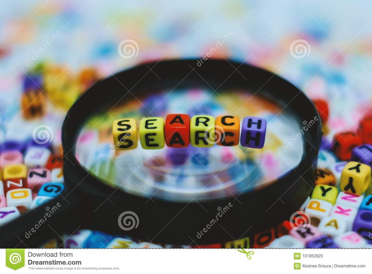 Word `SEARCH` on the magnifying glass