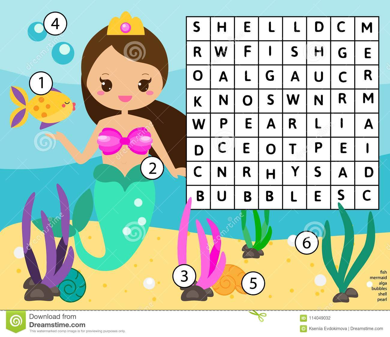 Word Search Puzzle Kids Activity Educational Children Game For Girls Learning Vocabulary Mermaid World Stock Vector Illustration Of Mermaid Children 114049032