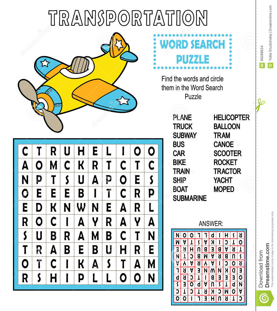 Word Search Transportation. Stock Vector - Image: 66098634