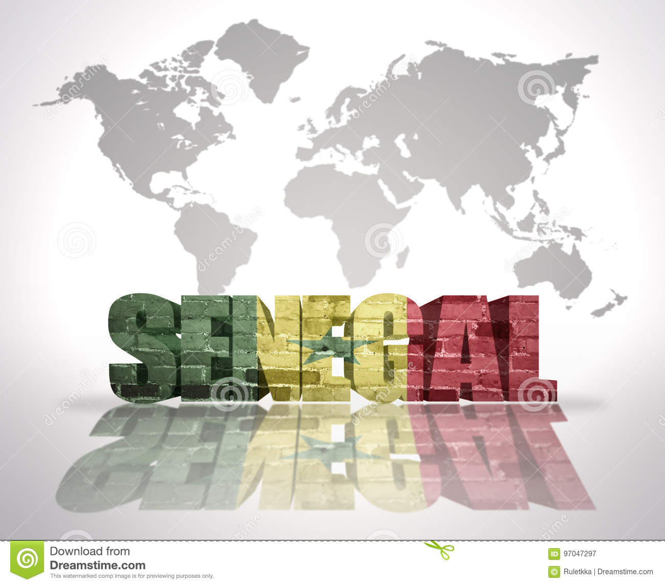 Word Senegal On A World Map Background Stock Illustration ... on