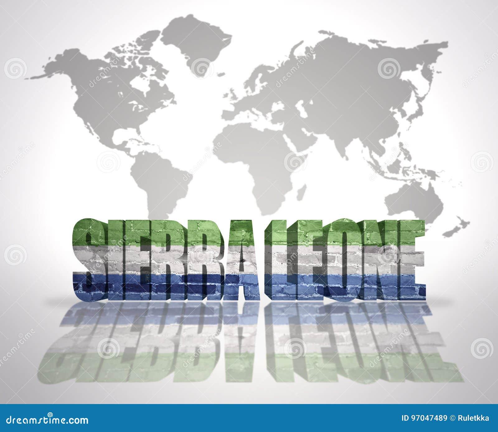 Word Sierra Leone On A World Map Background Stock Illustration