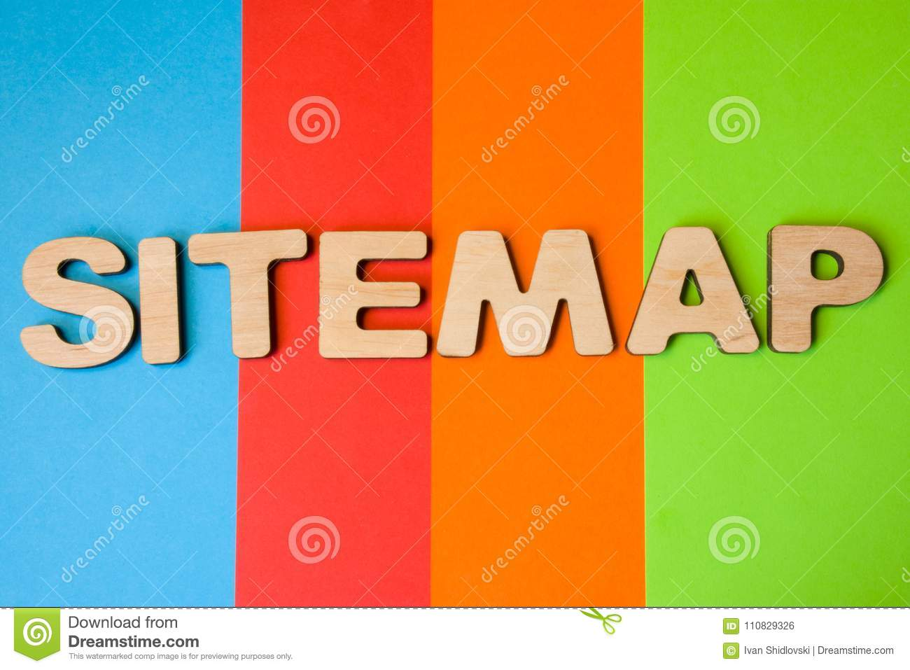 Word Sitemap of large wooden letters on colored background of 4 colors: blue, orange, red and green. Concept sitemap as list of pa