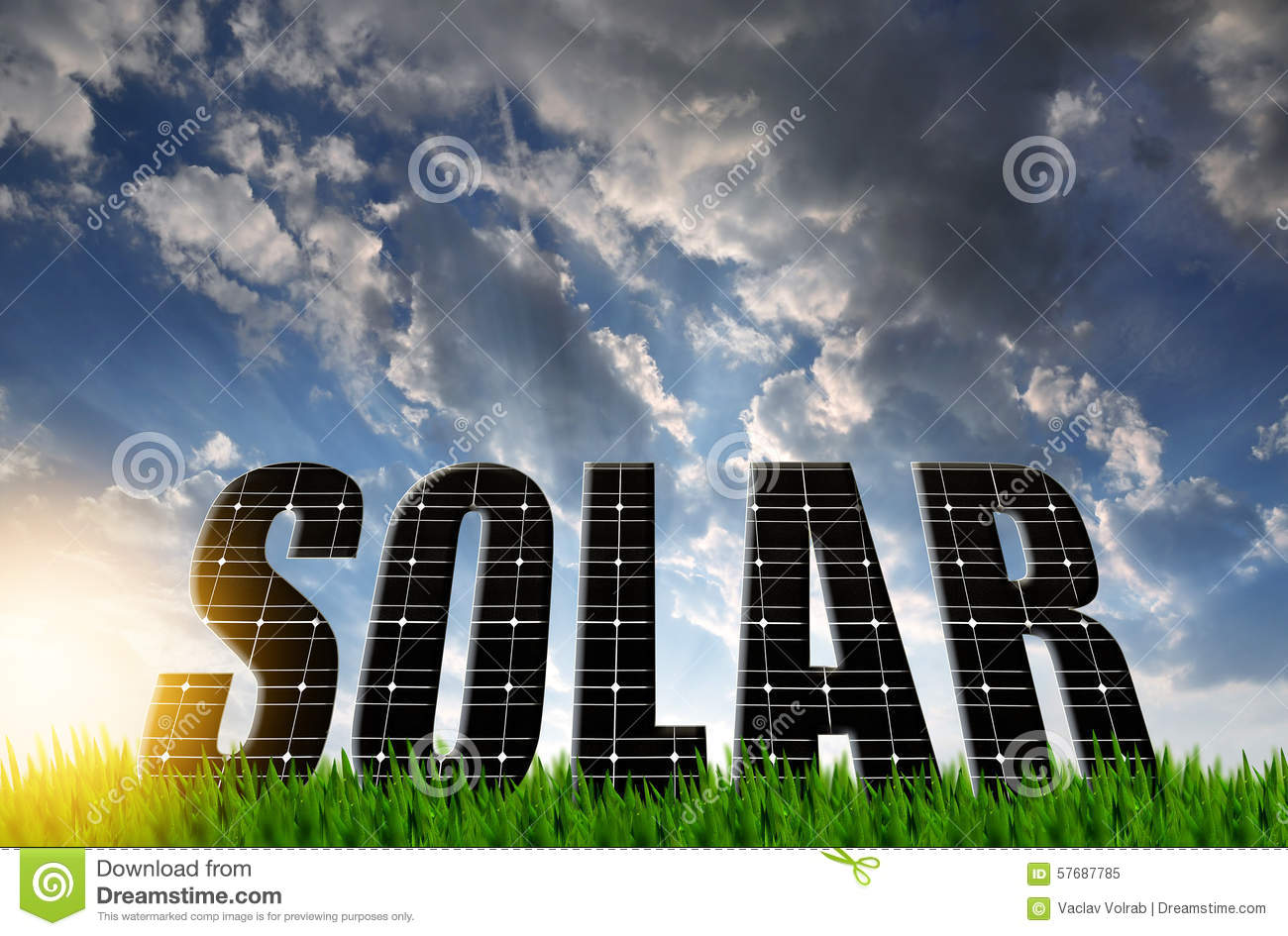 The Word Solar From Solar Energy Panels Stock Image