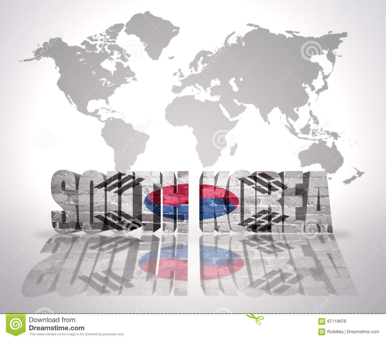 Word south korea on a world map background stock illustration word south korea with south korean flag on a world map background gumiabroncs Image collections