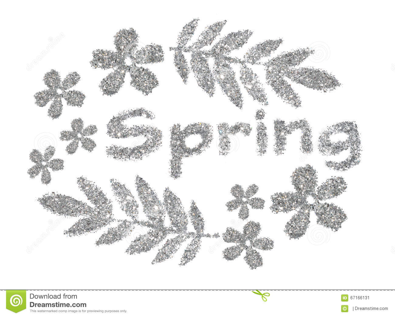 Word Spring And Nice Frame Of Leaves And Flowers Of Silver Glitter