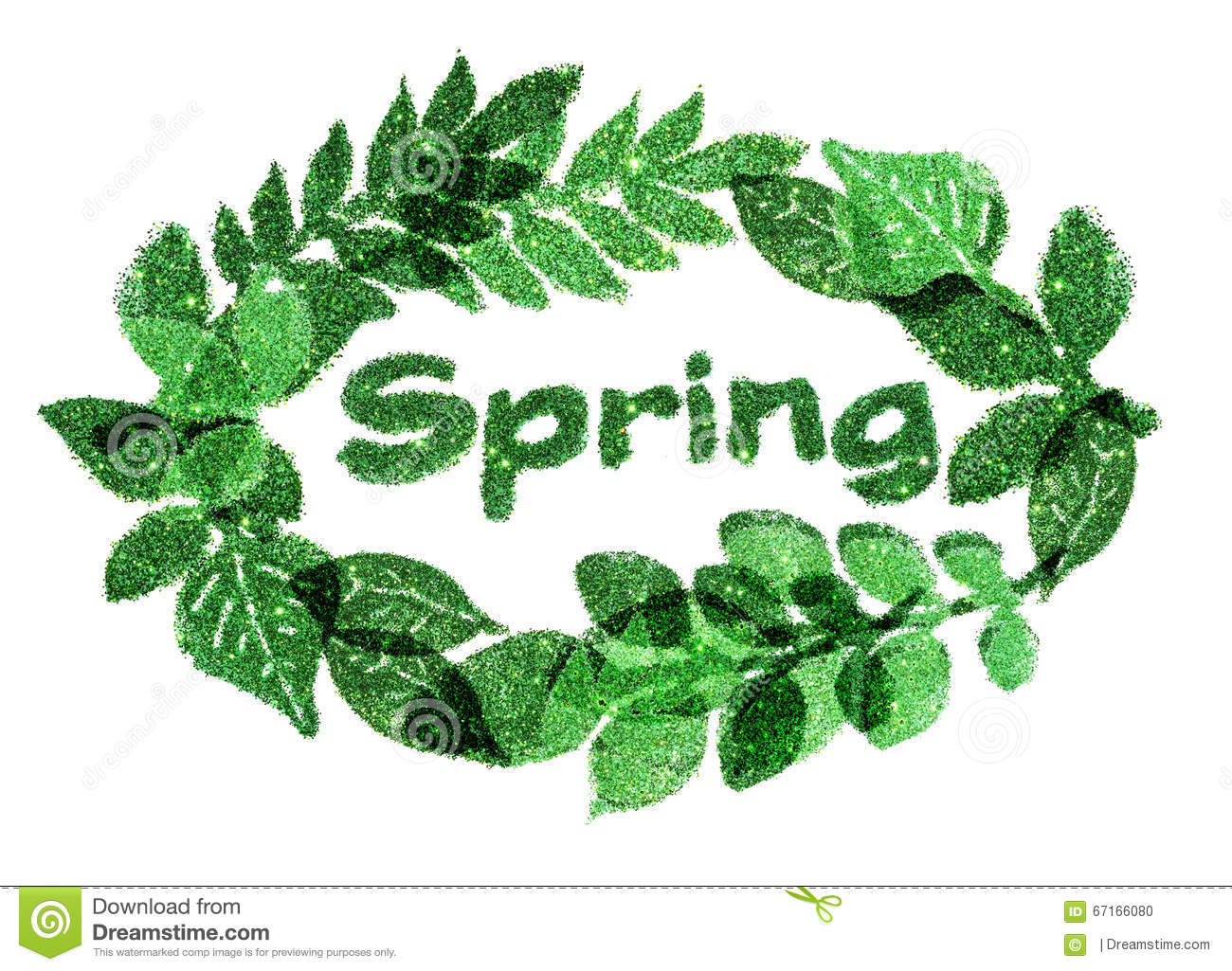 Word Spring and nice frame of leaves of green glitter sparkles on white background