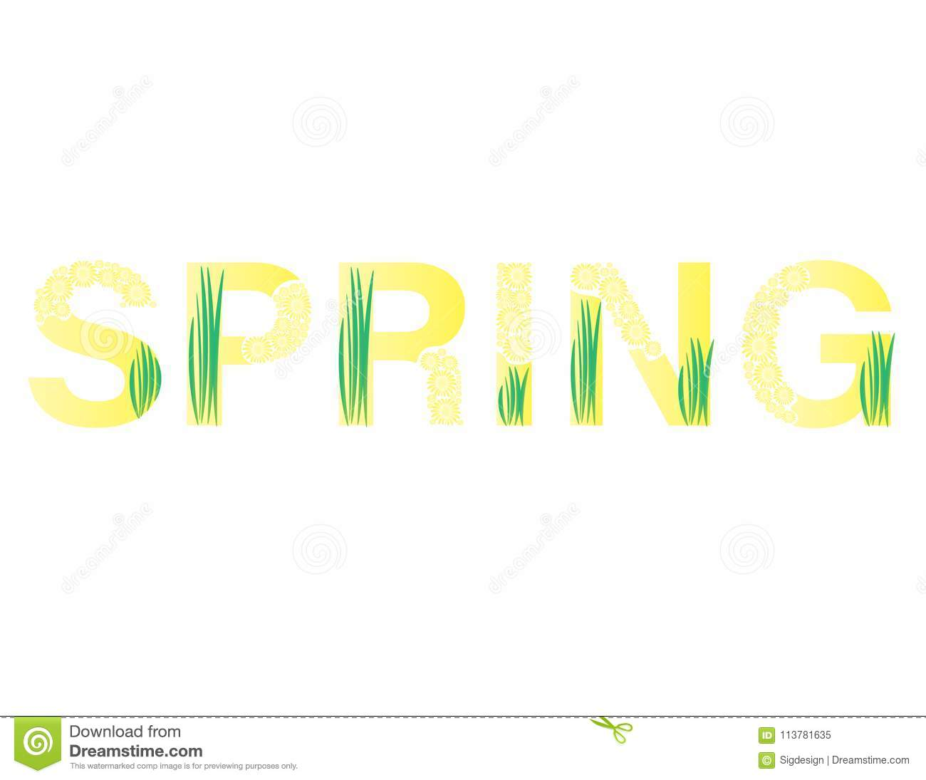 The Word Spring Yellow Text With Yellow Flowers And Green Grass On