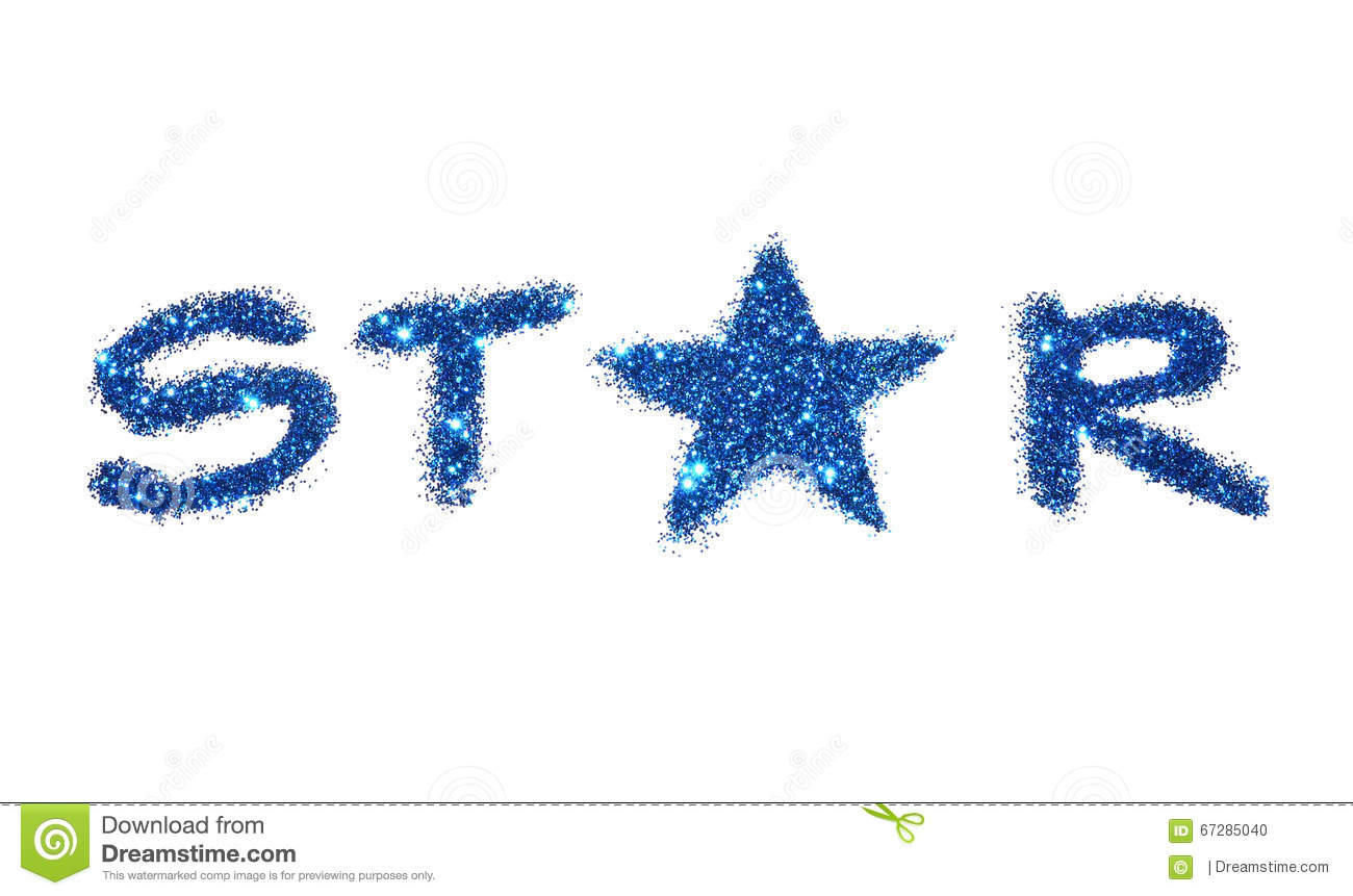 word star of blue glitter sparkle on white background stock photo