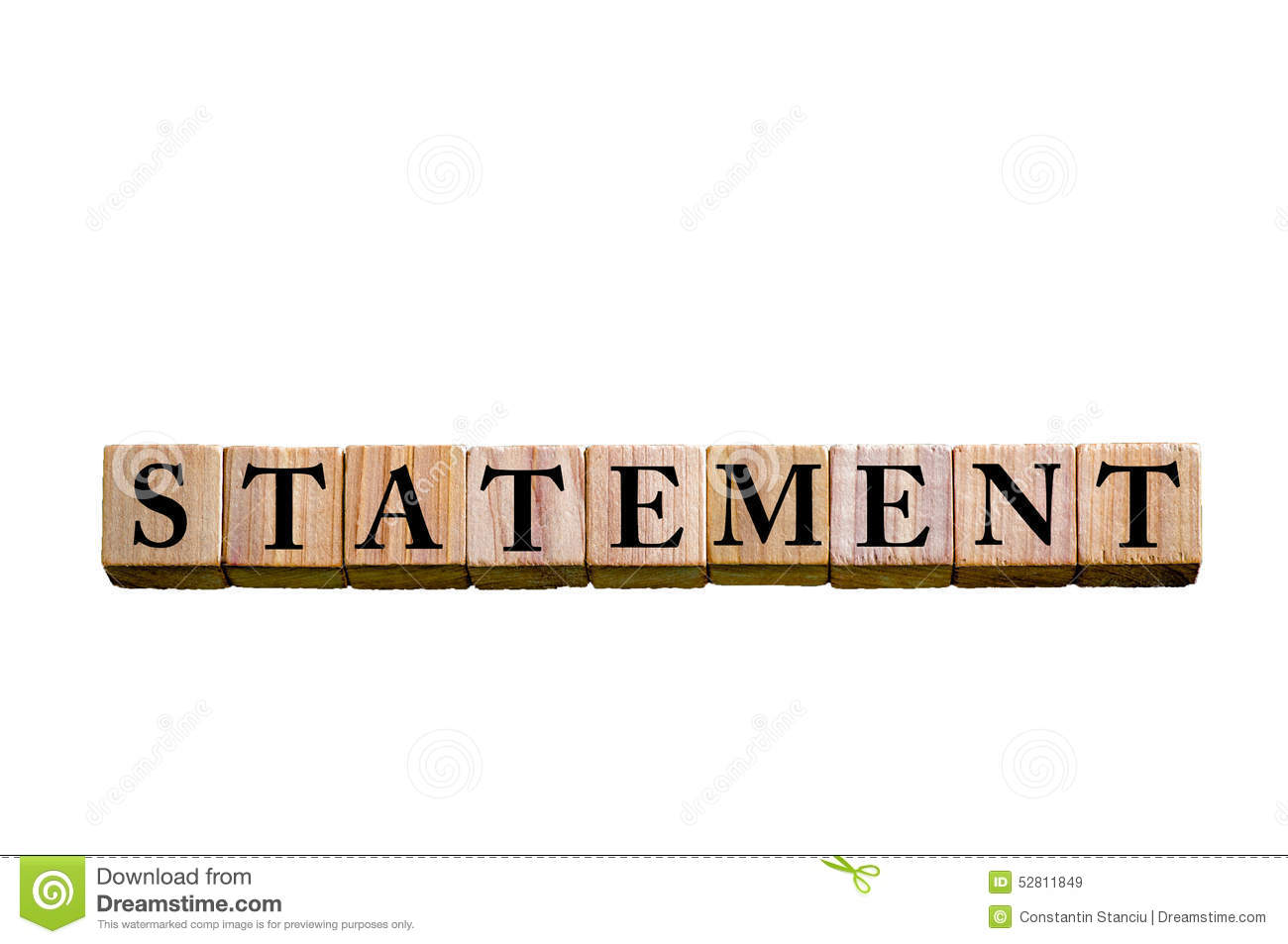 Word STATEMENT Isolated White Background Stock Image