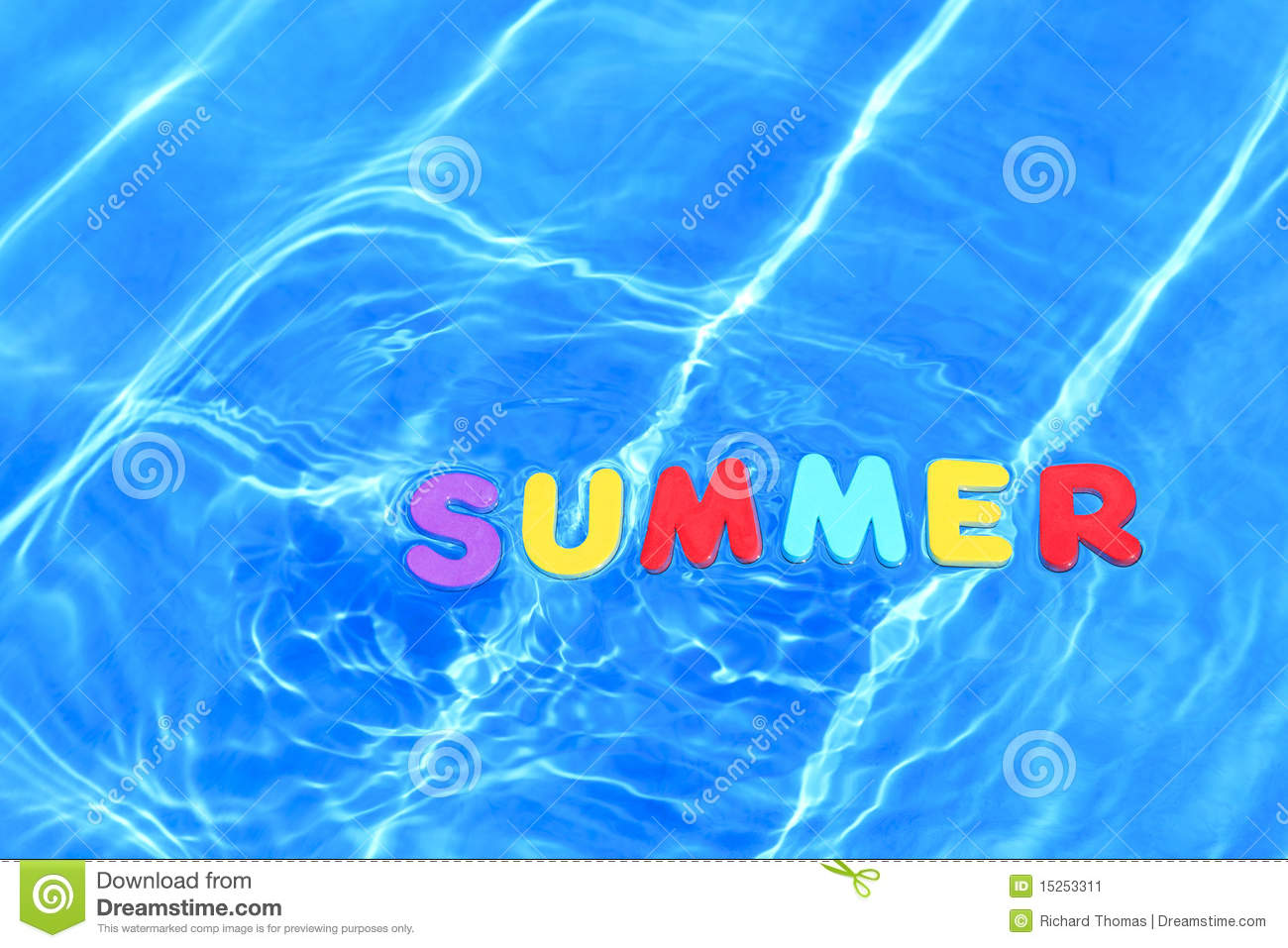 Word Summer Floating In A Swimming Pool Stock Image Image 15253311