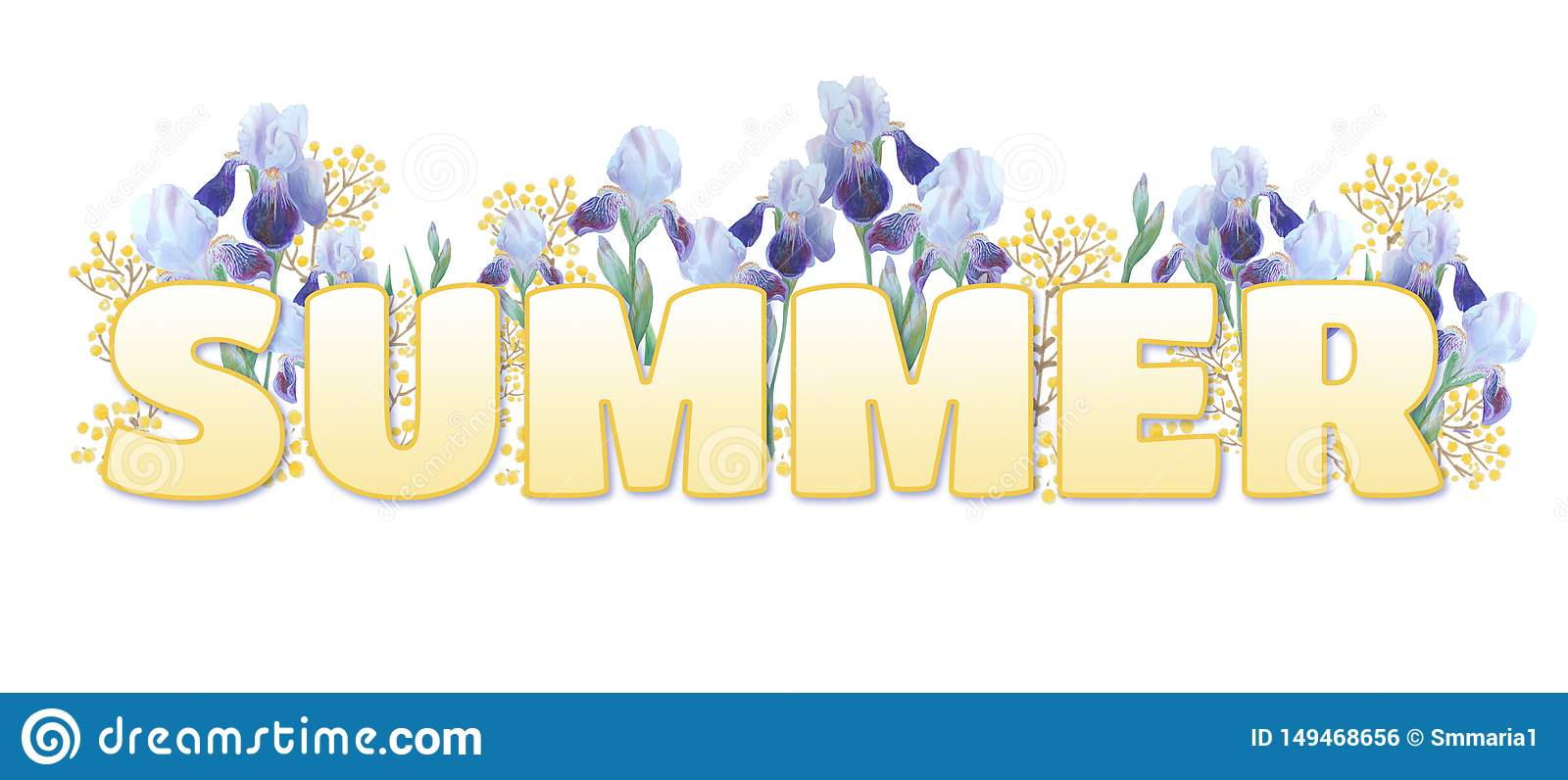 The word `Summer`. Yellow gradient inscription on white background. Bright irises and yellow sprigs