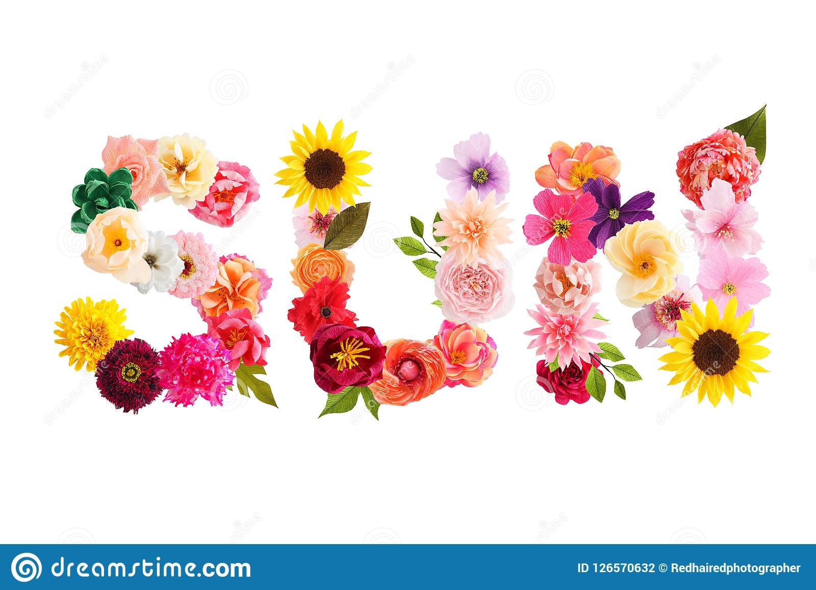 Word Sun Made Of Crepe Paper Flowers Stock Photo Image Of Isolated