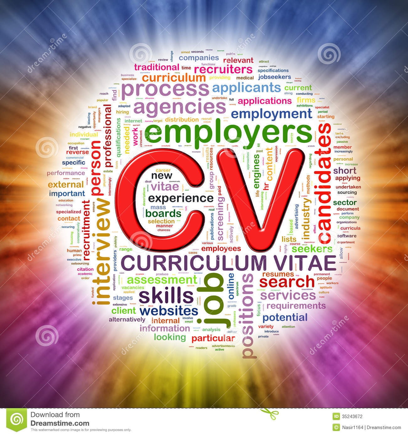 word tags circular wordcloud of cv stock illustration