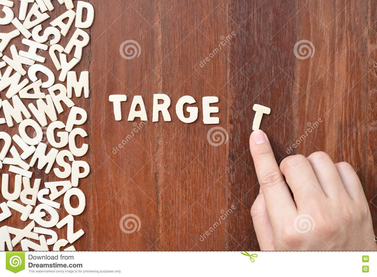 word target made with block wooden letters