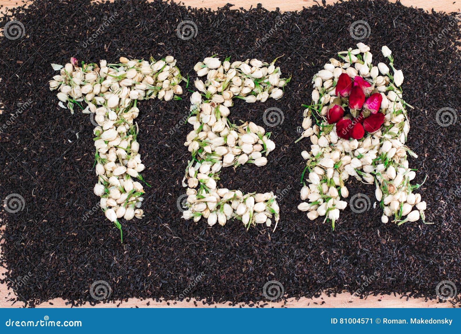 Word Tea Made Of Dried Jasmine Flower Buds Over Black Tea Leaves