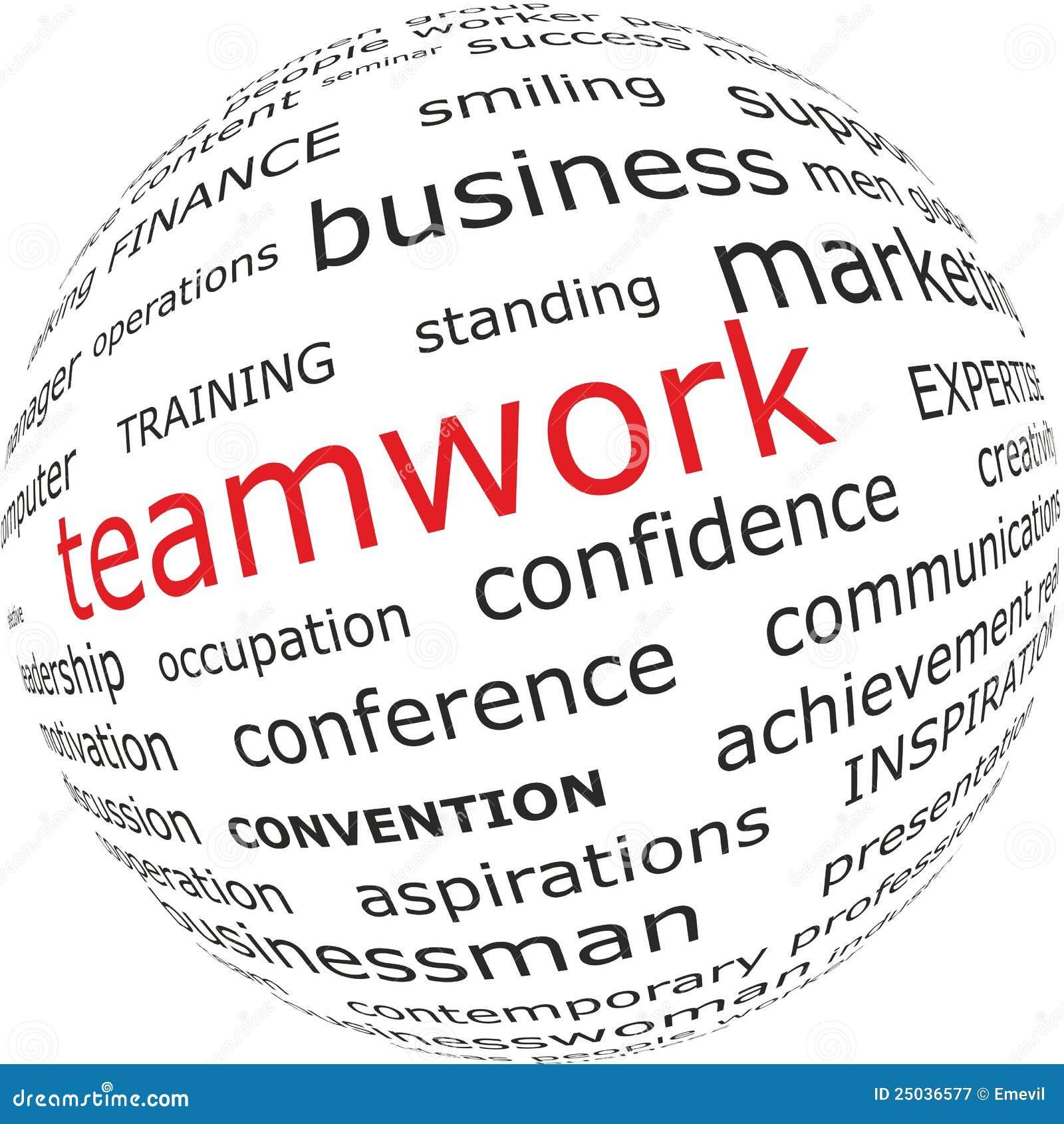word teamwork on globe stock vector illustration of cooperation
