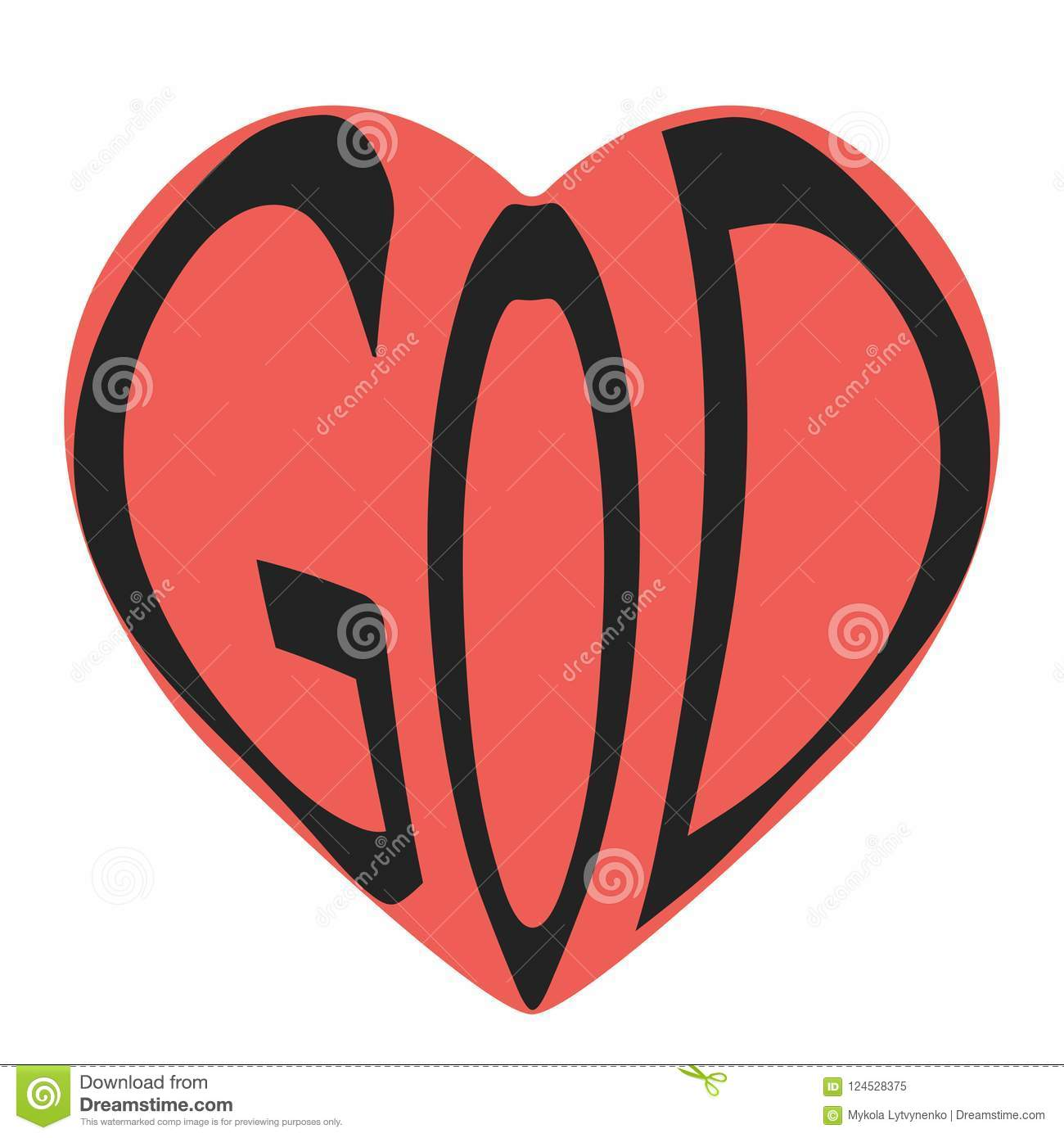 Word Text God Heart Vector Icon Symbol Text God In Shape Red Heart