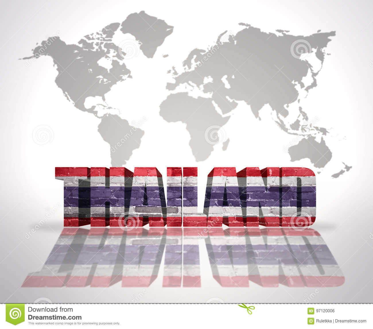 Word Thailand On A World Map Background Stock Illustration ...