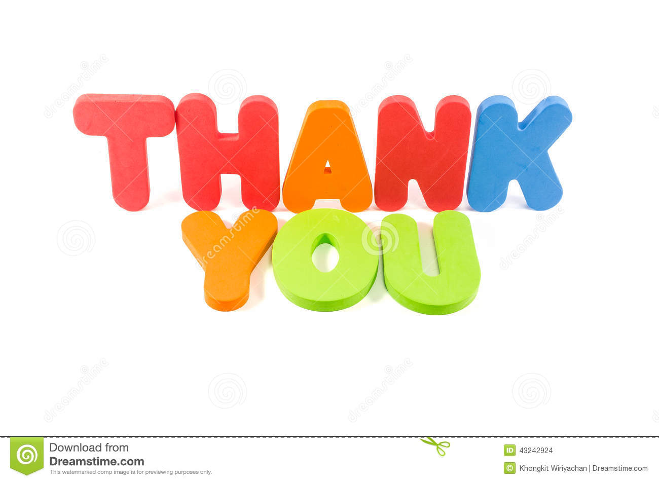 the word thank you colourful isolated stock photo image of