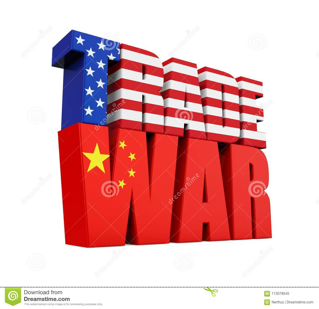 Word `TRADE WAR` with United States and Chinese Flag Isolated