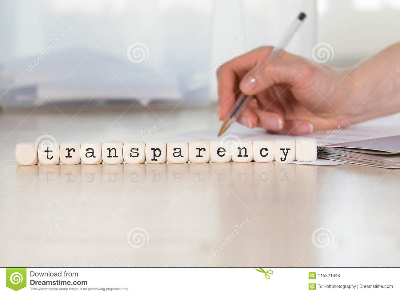 Word TRANSPARENCY Composed Of Wooden Letters Stock Photo