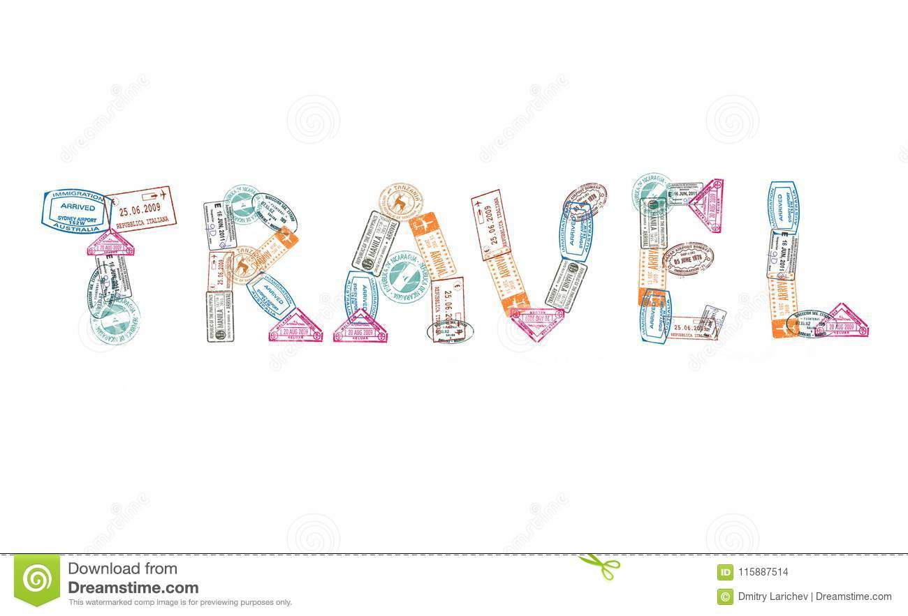 Word Travel Created With Passport Stamps On White Background Concept