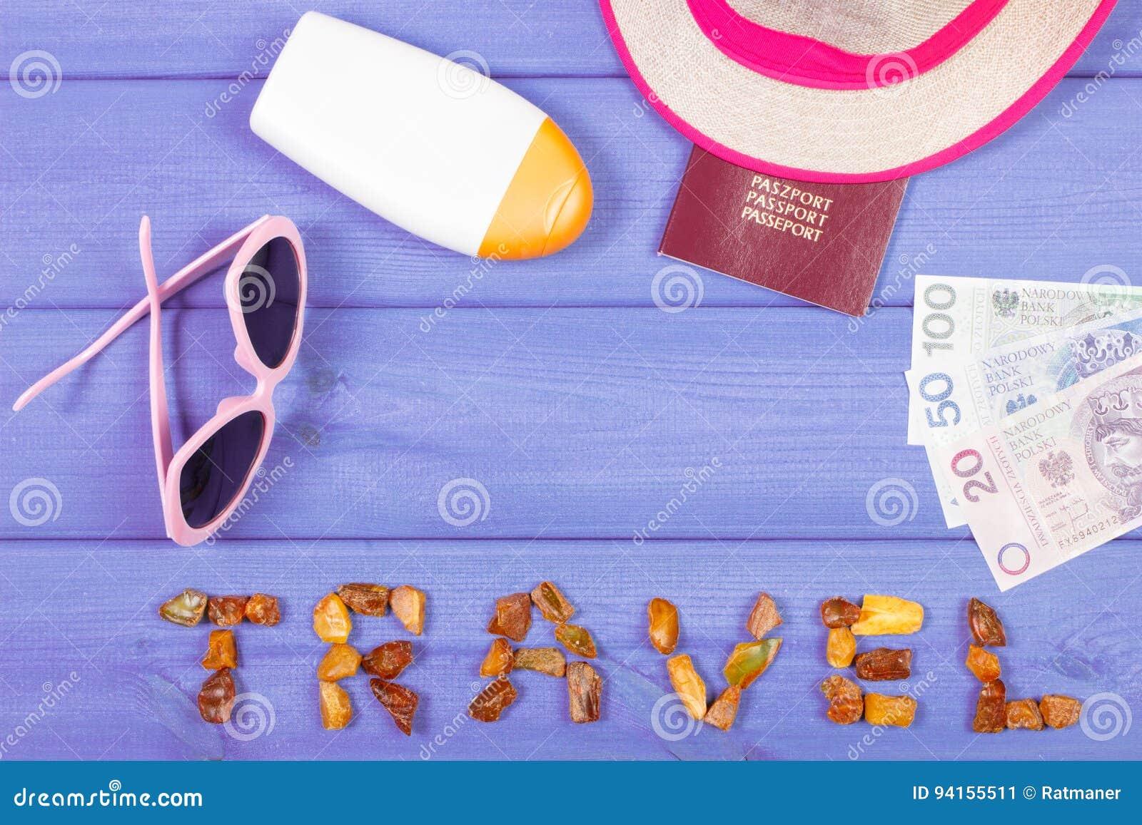 Word Travel Sunglasses Sun Lotion Straw Hat Passport And Polish