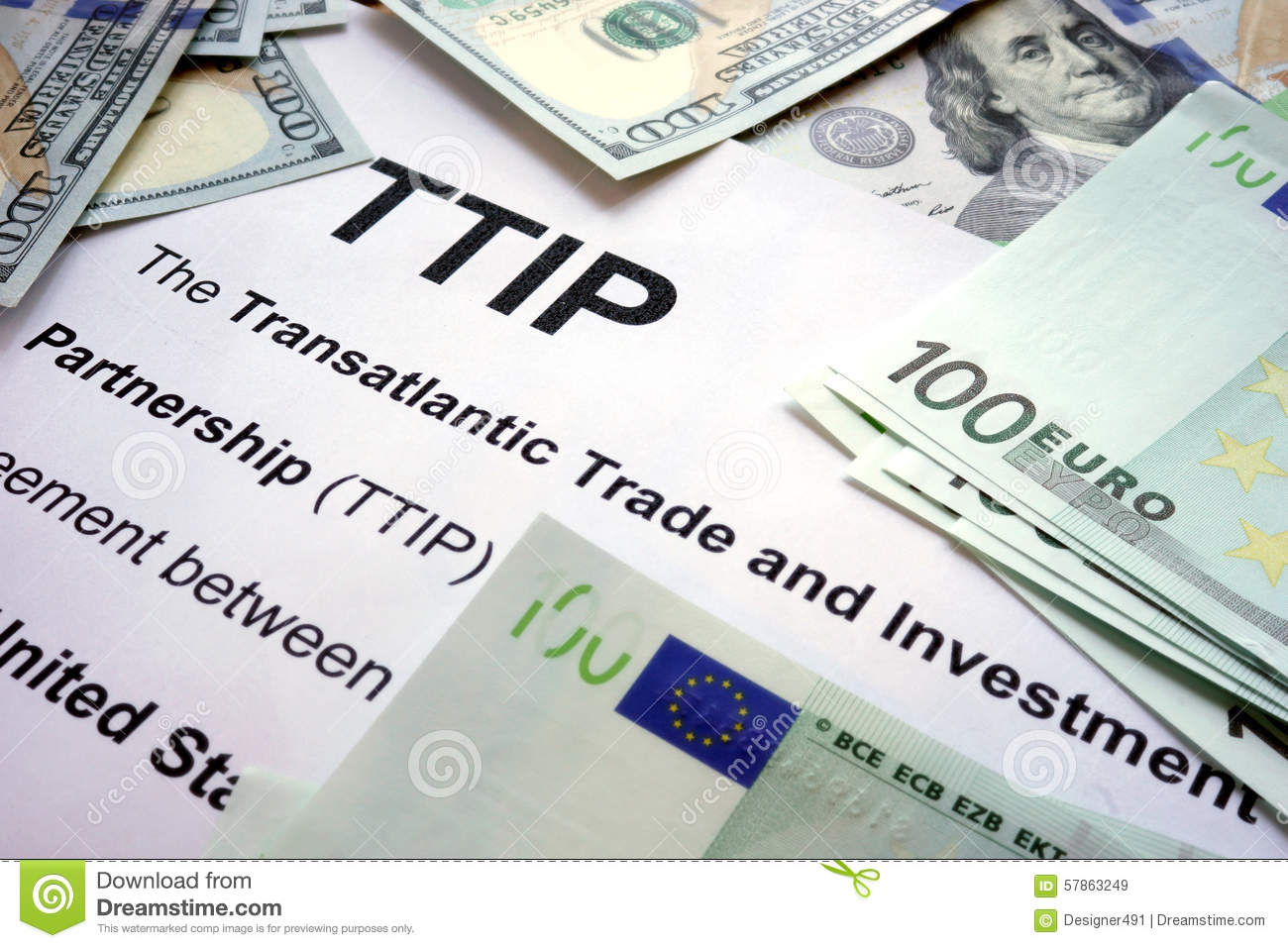 Word TTIP on a paper with dollars.