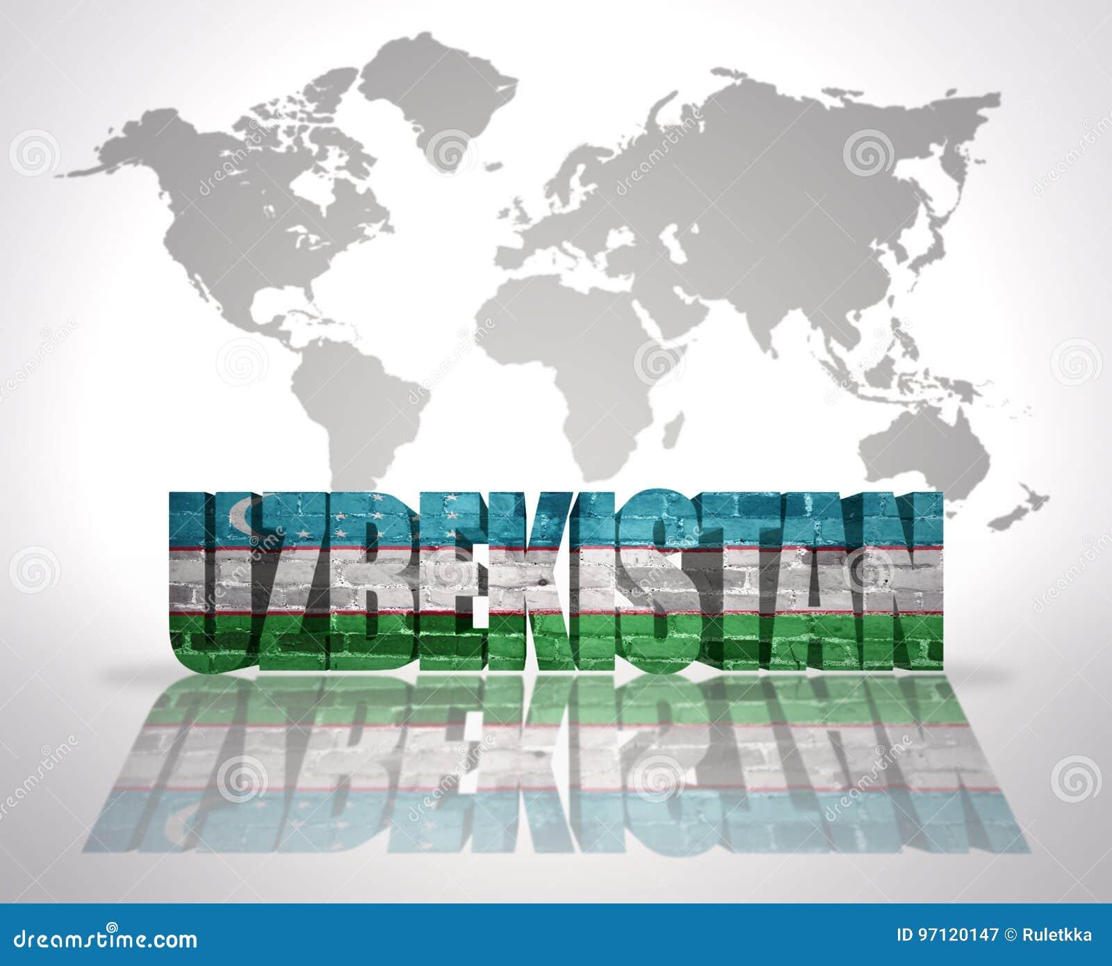 Image of: Word Uzbekistan On A World Map Background Stock Illustration Illustration Of Asia Flag 97120147