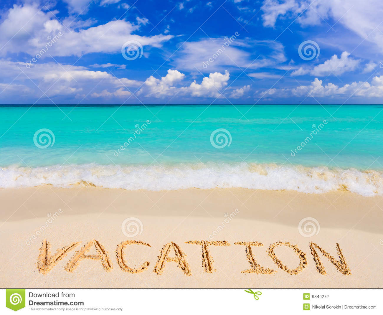 Word Vacation On Beach Stock Photo. Image Of Exotic