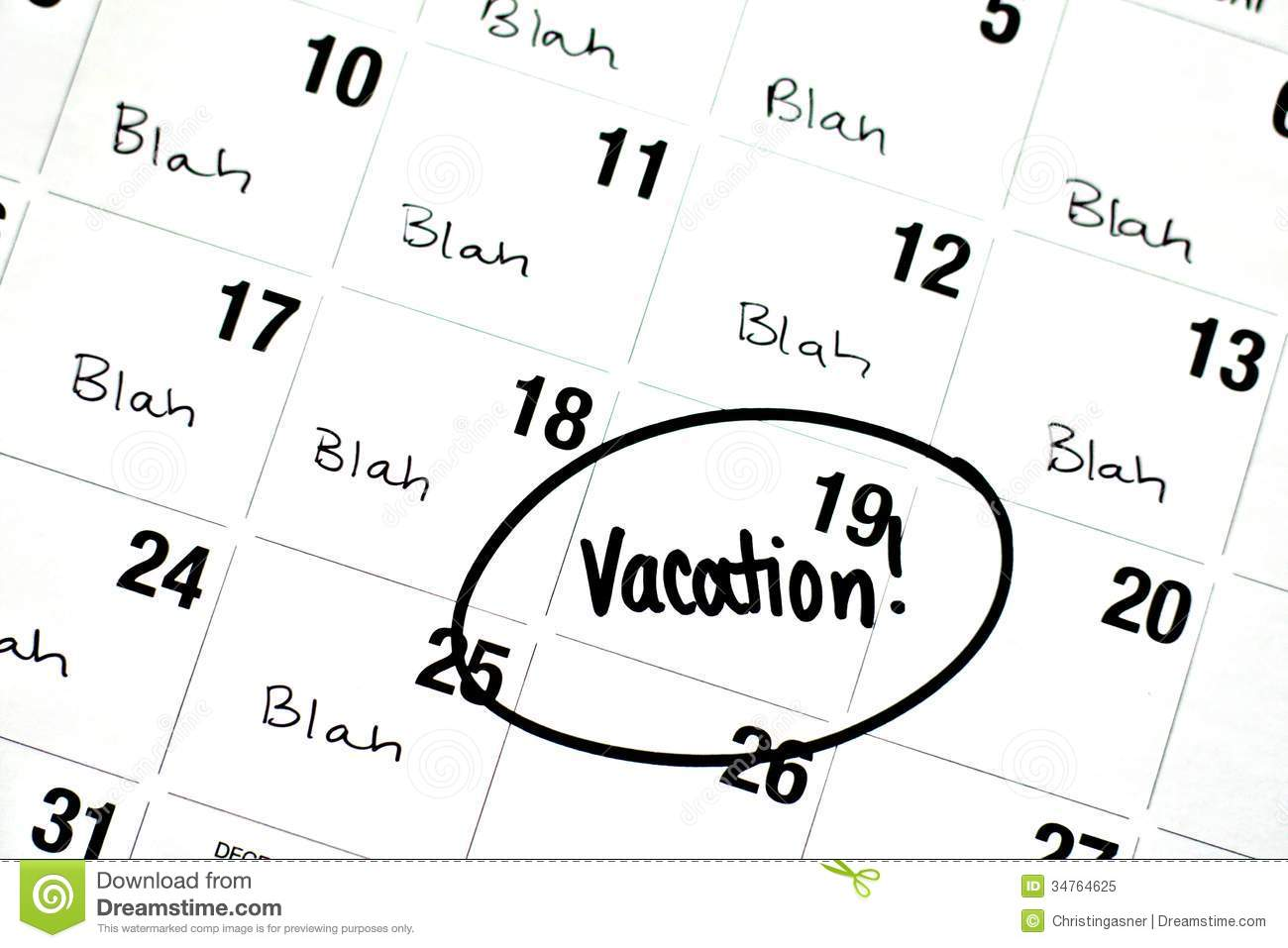 Calendar - Vacation Day Circled Royalty Free Stock Images - Image ...