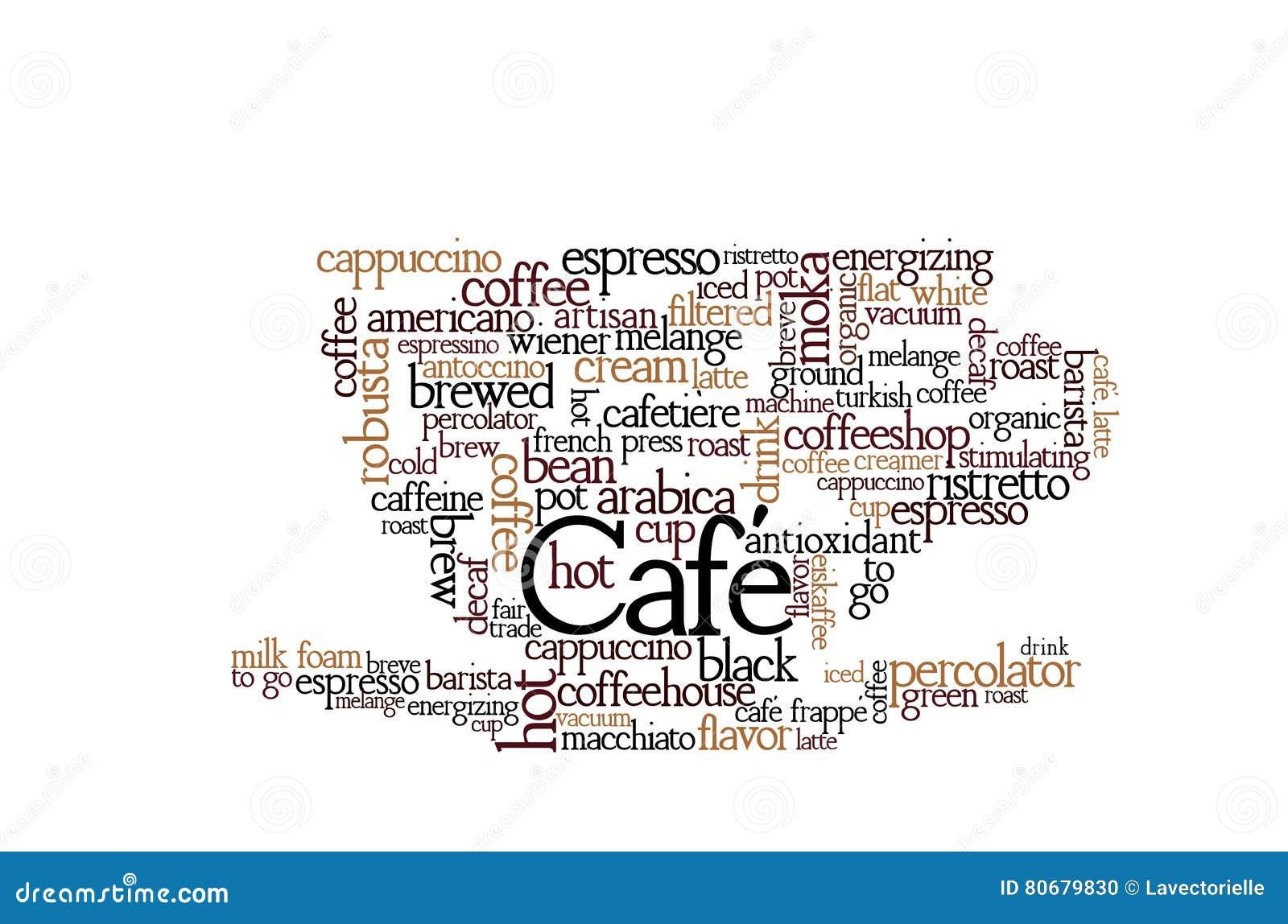 Word van het koffiethema Wolk