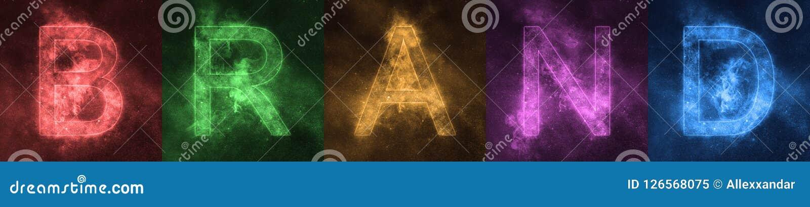 Word van letters voorziende MERKruimte gestileerde kleurrijke Brieven MERK bann