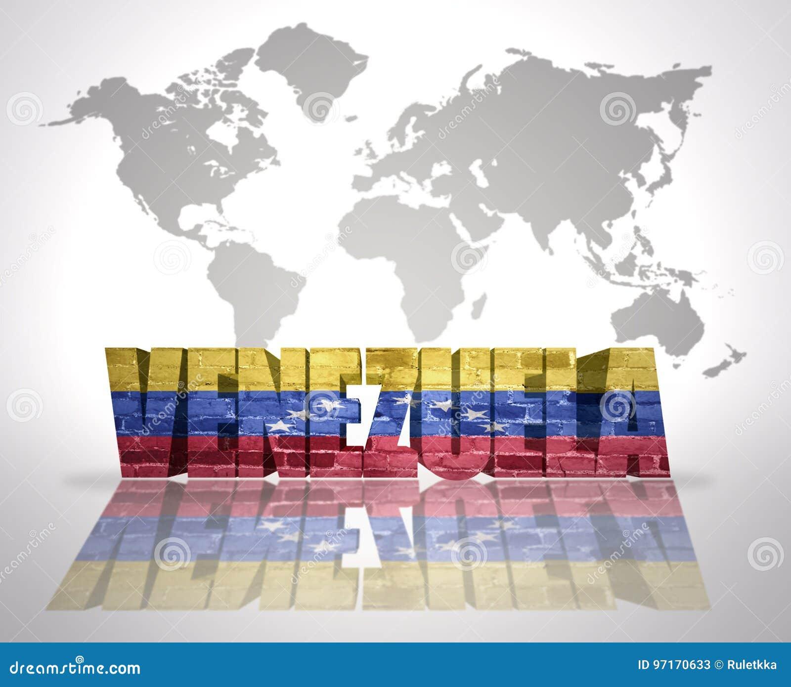 Word Venezuela On A World Map Background Stock Illustration ...