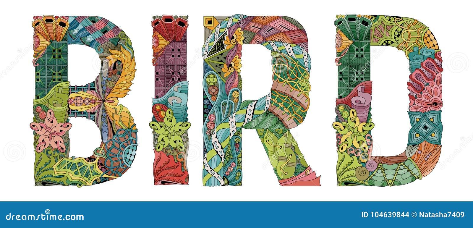 Download Word Vogel Vector Decoratief Zentanglevoorwerp Vector Illustratie - Illustratie bestaande uit concept, hand: 104639844