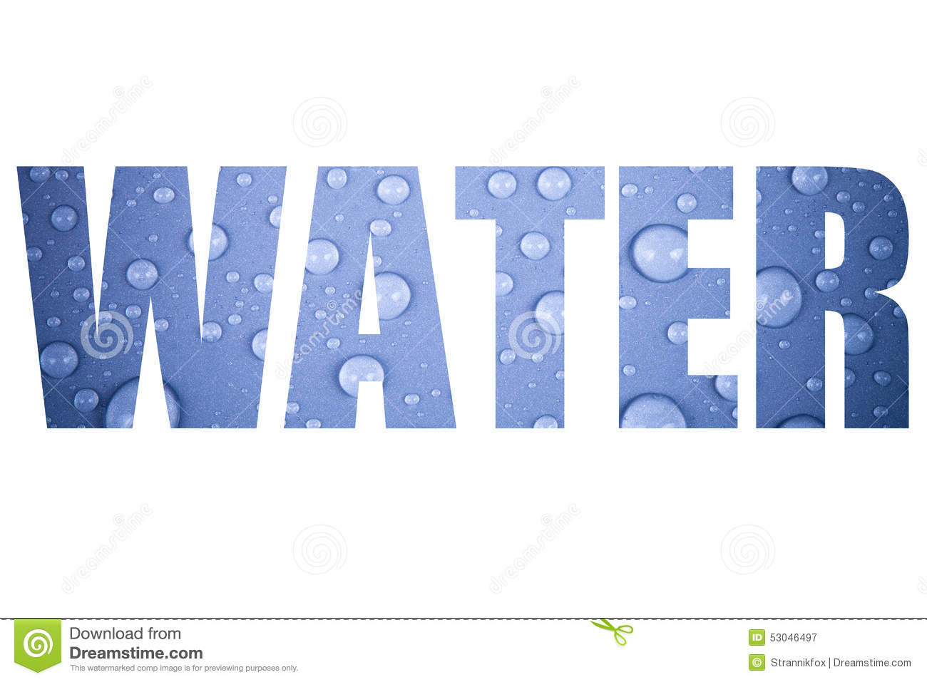 Word WATER Over Drops Of Water On A Color Background