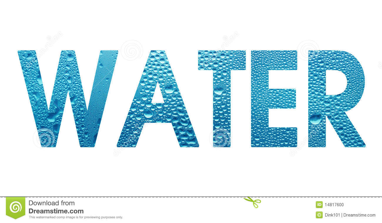 Word Water On White Background Stock Photo