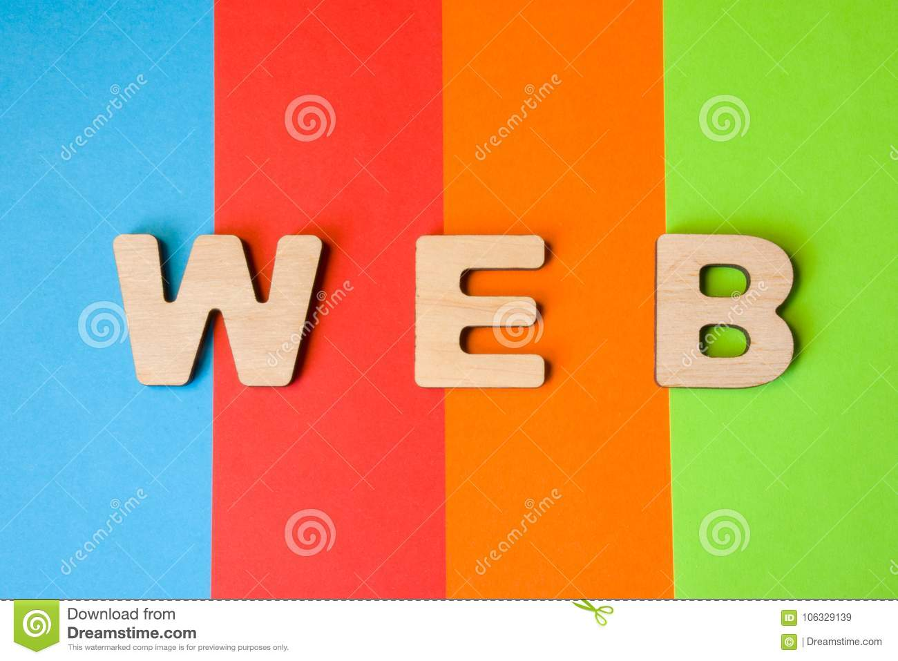 Word WEB composed of 3D letters is in background of 4 colors: blue, red, orange and green. Short for World Wide Web or the global