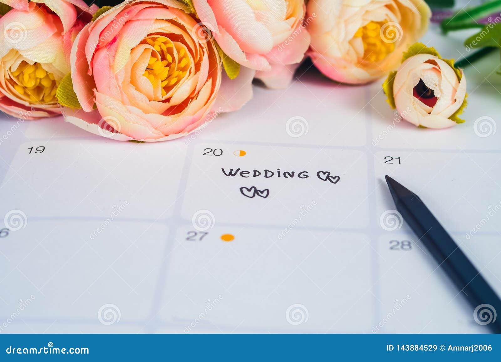 Word Wedding to Reminder Wedding day in calendar planning