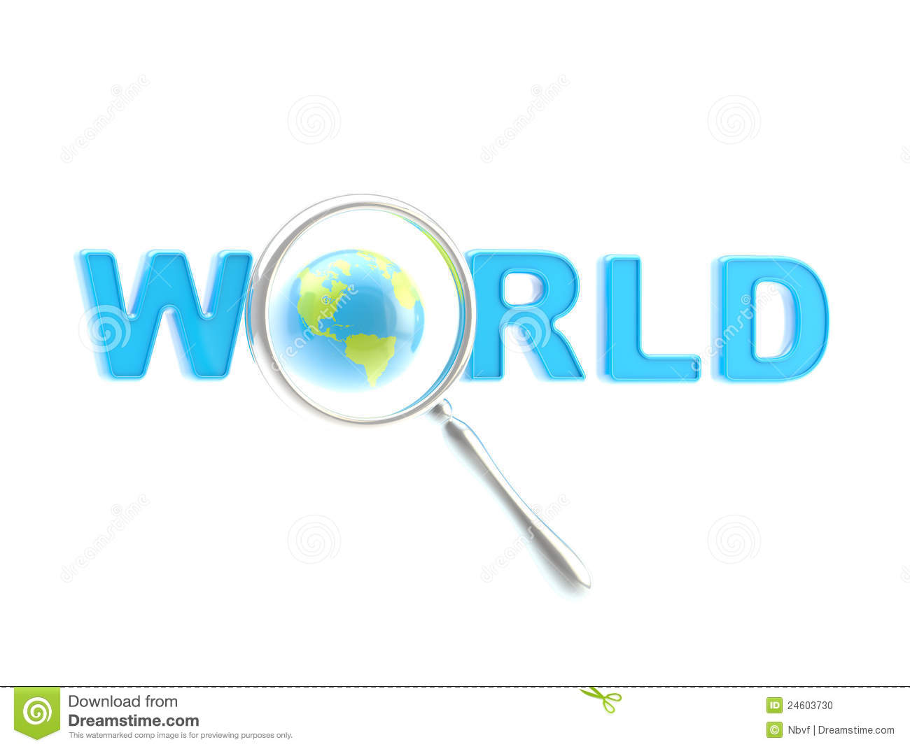word world under the magnifier word world under the magnifier isolated ...