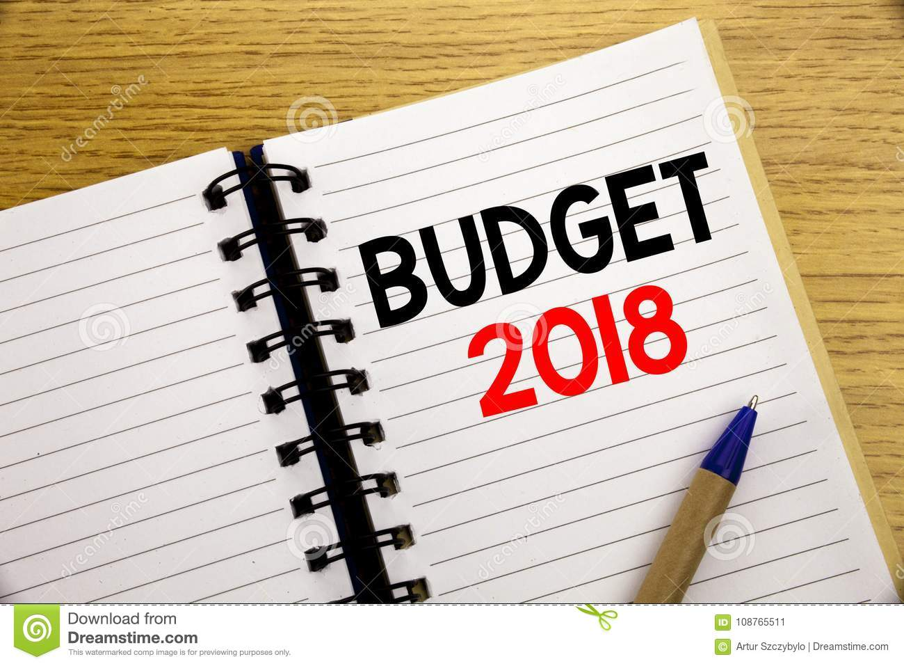 word writing budget 2018 business concept for household budgeting