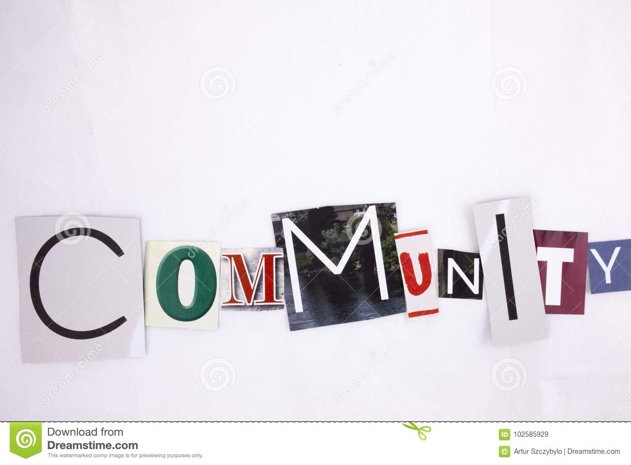 A word writing COMMUNITY made of different magazine newspaper letter magazine different letters for Business concept