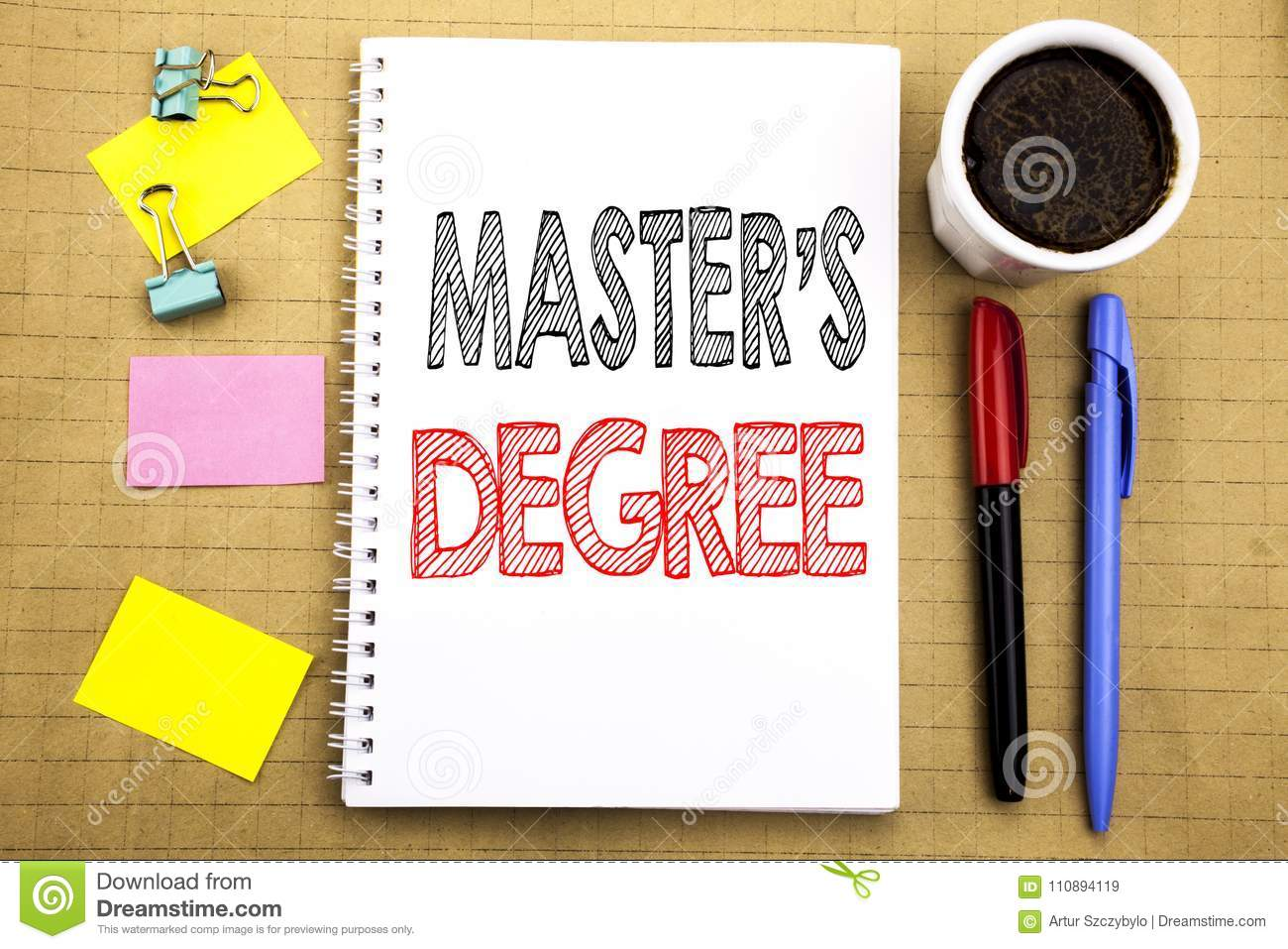 Word, writing Master s Degree. Business concept for Academic Education Written on notepad note paper background with space office