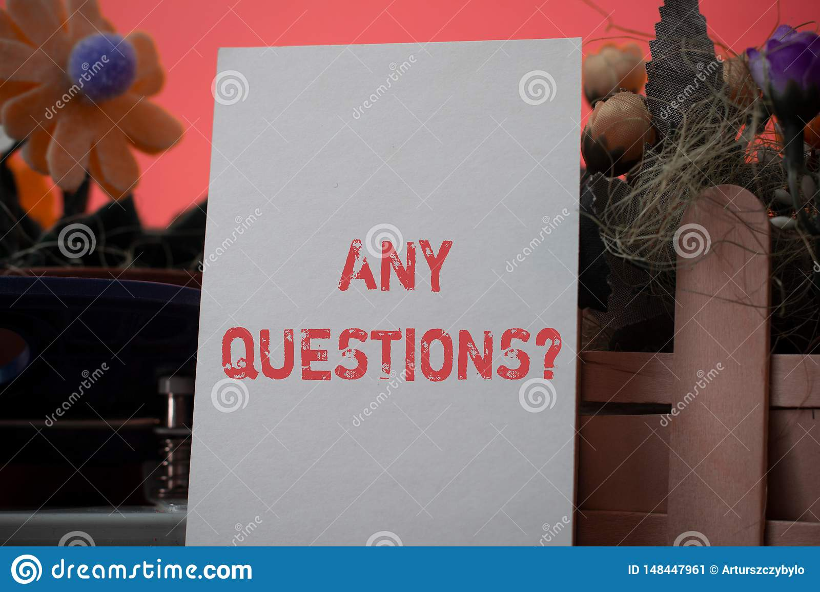 Word writing text Any Questions Question. Business concept for you say write order to ask demonstrating about something.