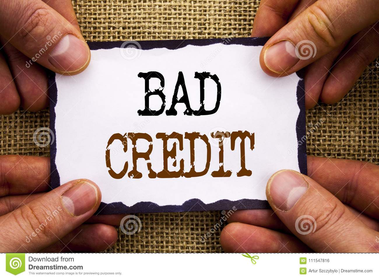 Word, writing, text Bad Credit. Conceptual photo Poor Bank Rating Score For Loan Finance written on Sticky Note Paper Holding Han