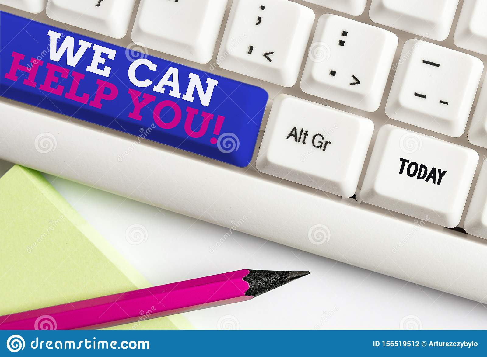 Word writing text We Can Help You. Business concept for offering good assistance to customers or friends White pc