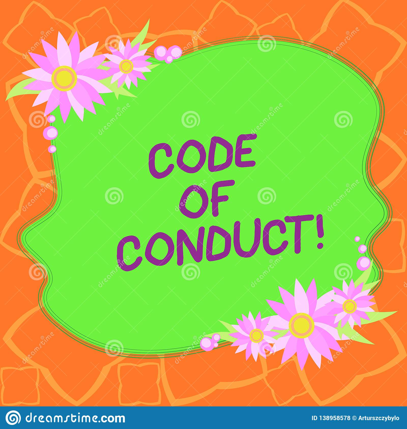 Word writing text Code Of Conduct. Business concept for Ethics rules moral codes ethical principles values respect Blank